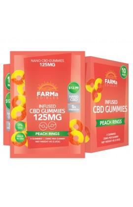 FARMa - INFUSED CBD PEACH RINGS GUMMY 5CT 125MG PACK OF 10